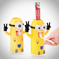 Wholesale Eco Friendly minion dispenser bathroom accessories automatic toothpaste dispenser with Brush Cup despicable me toothbrush holder DHL Free