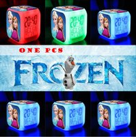 Wholesale One Big Discount LED Colors Change Digital Alarm Clock Frozen Anna and Elsa Thermometer Night Colorful Glowing Clocks MYF06