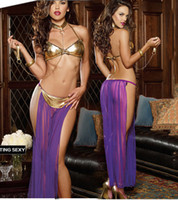 adult sexy costumes - New Adult Women Sexy Star Wars Slave Princess Leia Costume Dress Halloween Fancy Dress Cosplay Costume Custom Made