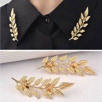 Wholesale 2015 Hot Sold Vintage Design Of Golden Leaf Type Shirt Of Brooch Collar Button Collar Clip