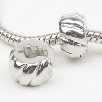 Wholesale Silver Tone Metal Charms Wholesale - MIC 10mm Silver Plated Tone Pumpkin Stopper Big Hole Beads Clip Fit European Charm Bracelets Metals Jewelry DIY