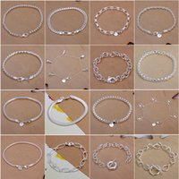 Wholesale 2015 New sterling silver bangles bracelets for women fashion jewelry wedding trendy plated silver bangle bracelet B000