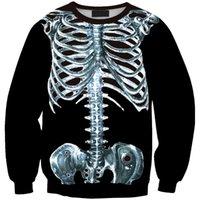 alternative america - Burst models in Europe and America of digital printing alternative bones skeleton head sweater sets Sws0148