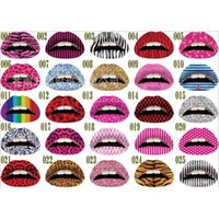temporary lip tattoos - Hot Sale Personalized Temporary Lip Tattoo Sticker Lipstick Art Transfers Many Designs Color Random MU