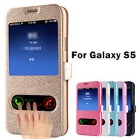 leather design bag - Luxury S5 Flip Silk Leather Back Cover Case For Samsung Galaxy S5 i9600 Phone Bags Cases For Galaxi S5 With Stand Design