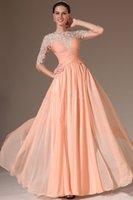 Cheap 2014 Prom Dresses Scoop Chiffon Lace Applique 3 4 Long sleeve Dress A Line Floor length Gowns