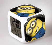 alarm switches - Colorful Glowing Clocks Despicable Me LED Colors Change Lighting Digital Alarm Clock Minions Thermometer Christmas Glowing LEDTable Clocks
