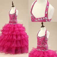 Wholesale New Real image Pageant dresses for girls Flower girls dresses for weddings sequined Crystal Tiered ball gown Glitz teen juniors dress