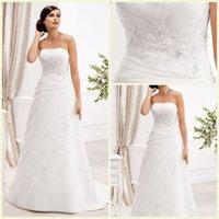 Wholesale Dazzling Temperament Wedding Dress A Line Zipper Sweep Brush Sleeveless Strapless Wedding Gowns Crystal Applique Wedding Dresses
