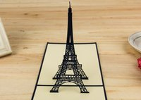 Wholesale 3D Greeting Card Romantic Eiffel Tower hollow Creative Kirigami Origami D Pop UP Gift Cards