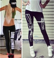 Wholesale Fashion Sexy Women Leggings Tight Ladies Letters Gun Work Out Just do it Print Leggings Stretch Pants Waist Tights Black