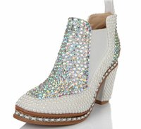 beaded boots sale - 2015 Hot Sale Bridal Accessories Wedding shoes Bridal shoes Pearl Diamond Crystal Beaded Boot Boots High Heel Women shoe