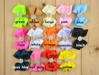 "Cheap Free Shipping 20 Pcs lot 3"" Solid Hair Bow With Embellishments,Handmade Ribbon Hair Bow,Girls Boutique Hair Bow Without Clip"