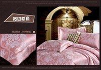 Wholesale Honey bean red Silk bedding set tribute silk bedlinen satin quilt cover bedsheet pillowcases designer bedding home textile B5020