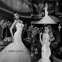 Cheap Mermaid Long Train Wedding Dresses 2015 Sexy Galia Lahav Wedding Dresses Sweetheart Sheer Back Applique Beads Berta Bridal Gowns Custom Made