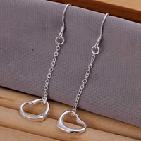 Wholesale sterling silver jewelry earring fine cute heart pendant drop earring and retail SMTE086
