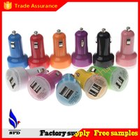 USB Micro-USB  Yellow universal 2 Dual Port USB Car Charger Adapter 5V 2.1A for ipad iPhone 5 5C 5S 4S Samsung Galaxy s4 s5 s3 note 3 android smart phones