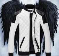 Wholesale New winter men s zipper design leather jacket men Slim PU leather jacket High quality men jacket black white M XL hight quality free shipp