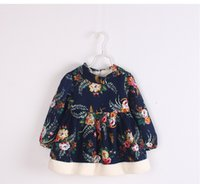 add lines - Full of new fund of autumn winters is printed flowers add hair thickening winter girls dress Girls dress BH1446