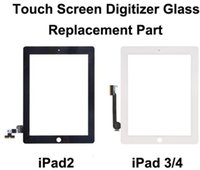 Wholesale For iPad Touch Screen Glass Digitizer Assembly with Home Button Adhesive Glue Sticker Replacement Repair Parts Black and White