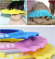 Wholesale Adjustable Safe Soft Children Bath Cap kids Safe Shampoo Bath Bathing Shower Cap Hat Wash Hair Shield