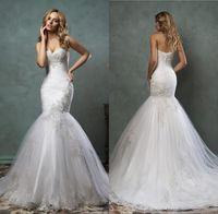 Cheap Vestidos De Novia 2016 Amelia Sposa Lace Wedding Dresses Mermaid Sweetheart Corset Back Appliqued Long Bridal Gowns AS2013