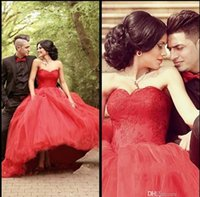 Wholesale Latest Red Lace Romantic Ball Gown Wedding Dresses Sweetheart Neck Ruffles Organza Applique Sweep Train Bridal Dress Wedding Gowns