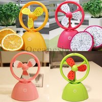 Wholesale Rechargeable Mini USB Fan Colorful Fruit Series Hand Table Fan Portable Touch Fan Air Cooler Cooling Fan BHU2