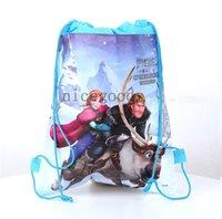 Wholesale 120pcs frozen girls anna elsa design drawstring bags kids backpacks handbags children school bags kids shopping bags present