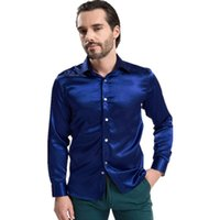 Cheap 2015 New Fashion Long Sleeve Silk Dress Shirts For Men 12 Colors High Quality Mens Button Shirt Size S-XXL Chemise Homme Q1570