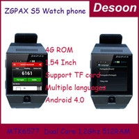 Wholesale Watch phone Andorid Watch phone ZGPAX S5 Android Inch Dual Core MTK6577 MP WIFI Bluetooth Watch Mobile phone Linda