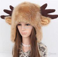 bear fur hat - New Winter Women Fashion Cute Bear Ear Ox Horn Rabbit Faux Fur Bomber Hat Birthday Christmas Gift