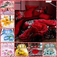 bedding set sales - Beautiful D Oil Floral Printing Cotton Bedding Sets King Size Bedclothes Duvet Cover Sheet Bed Spreads Homm Textiles Hot Sale