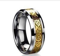 2014 Nueva moda hombre y anillo de carburo de tungsteno anillos Dragón banda de mujeres oro 18k de los hombres de la boda Joyería para Hombres Nuevo tamaño 5-13