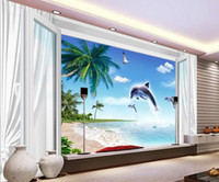 beach window curtains - Customize wallpaper papel de parede Blue and white window curtains beach dolphin d TV backdrop d wallpaper 5267
