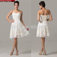 short evening - Grace Karin Ivory Strapless Lace crochet Satin Retro Vintage Short Evening Dress Formal Gown Prom Dress