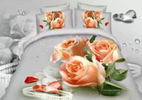 achat en gros de roses jaunes de literie-Magasin de roses jaunes Ensemble de literie 3D Ensemble de literie en coton double taille double Literie couette couette couvre-lit designer en lin 4pcs western