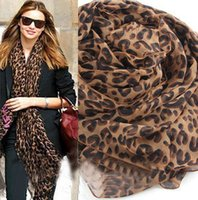 animal print - Wholesell Leopard Scarf Grasping wrinkle poncho Voile shawls and scarves Warmful Pashmina Fall kerchief Winter Women European fashio