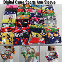 Wholesale DHL NEW Baseball Stitches digital camo arm sleeves baseball Outdoor Sport Stretch Arm Sleeve Elbow Extended armband compression sleeve