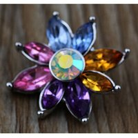 Wholesale colorful high quality hot sale metal ginger snap rhinestone DIY snap button charm for snap button bracelet jewelry
