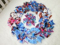 Wholesale new design inch ribbon frozen hair bows WITHOUT CLIP for baby kids buotique frozen bows hair accessories