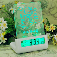 Wholesale 151202 New Blue LED Fluorescent Message Board Digital Alarm Clock Calendar electronic desktop Digital table clock despertador FYDA1203