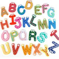 Wholesale Fridge Magnet Child Colorful Letters shape Learning Wooden Magnetic Toddler Children Toys Supplies