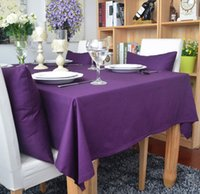 Wholesale New Solid Color High Quality Cotton Table Cloths Restaurant Dining table Coffee Table Cloth Christmas Decorations Purple Various Size