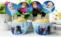 cupcake toppers - Frozen paper cupcake wrappers and toppers set baby party birthday shower supplies styles party decorations