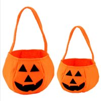 basket weave - Halloween Trick or Treat Pumpkin Candy Bag Basket Cute Non woven Pumpkin Bag Handheld pumpkin bag for children DHL