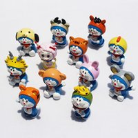 animal collective - 5sets set Chinese Zodiac Doraemon PVC Figure Model Toys Doramon Animals Toys Collective Doll Gift For Children