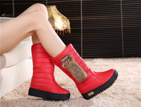 bell leather shoes - Winter New PU Leather plus velvet thick Bell Charms Fur Snow Boots ladies waterproof Boots Ladies Warm Cotton Shoes