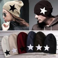 Wholesale Hot Sale Fashion Sports Pentacle Star Warm Skull Beanie Hip Hop Knit Cap Hats Ski Crochet Cuff Winter Hat for Women Men