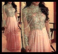 collar t-shirt - high neck Arabic Muslim pink collar A line chiffon prom dresses stunning sequins beaded with long sleeves floor length evening gowns BO5728